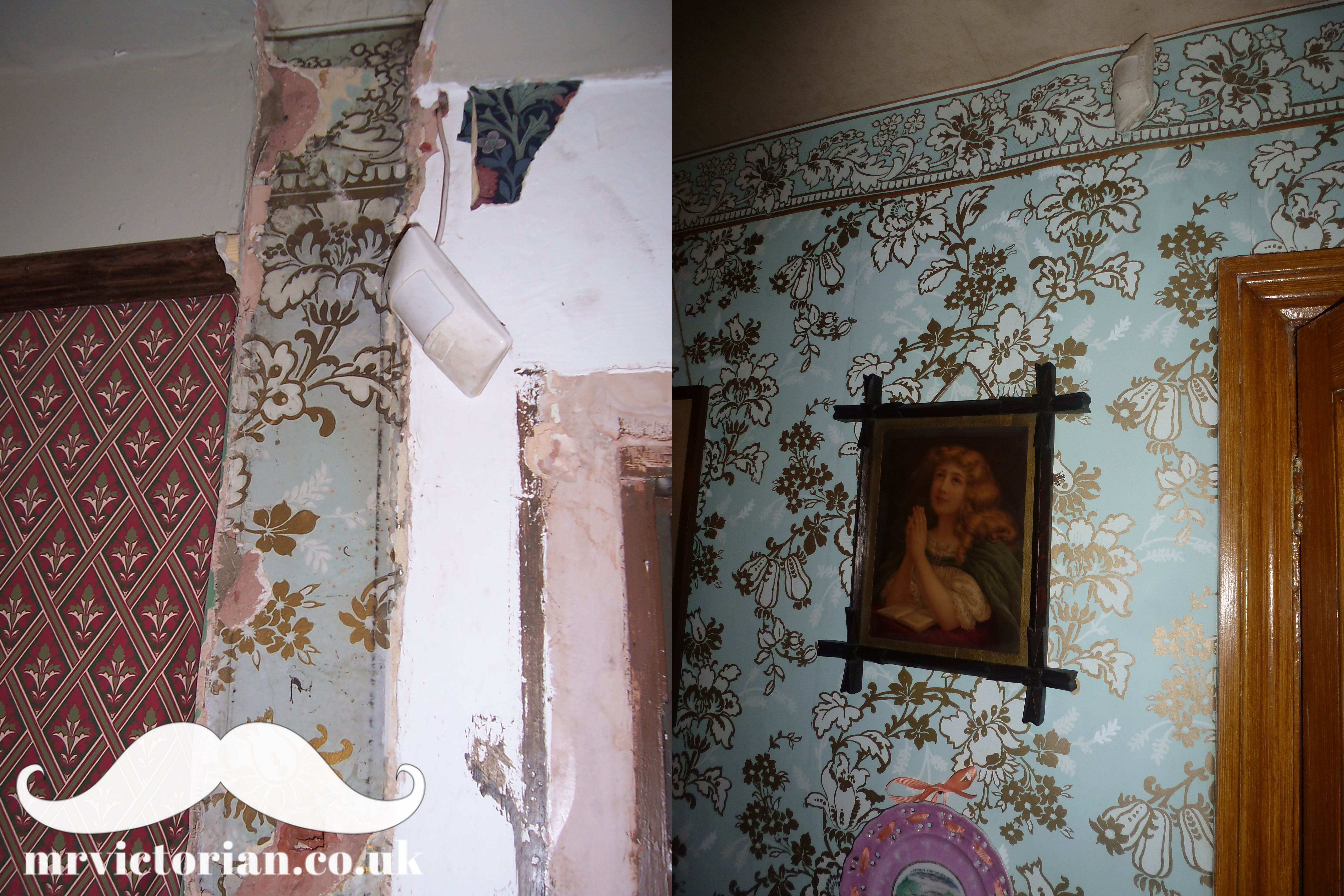 Victorian 1890 wallpaper restored Chapel Street Rose period house restoration