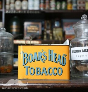 Mr Victorian 1920s grocery shop showing Boards Head Tobacco tin. Visit www.mrvictorian.co.uk