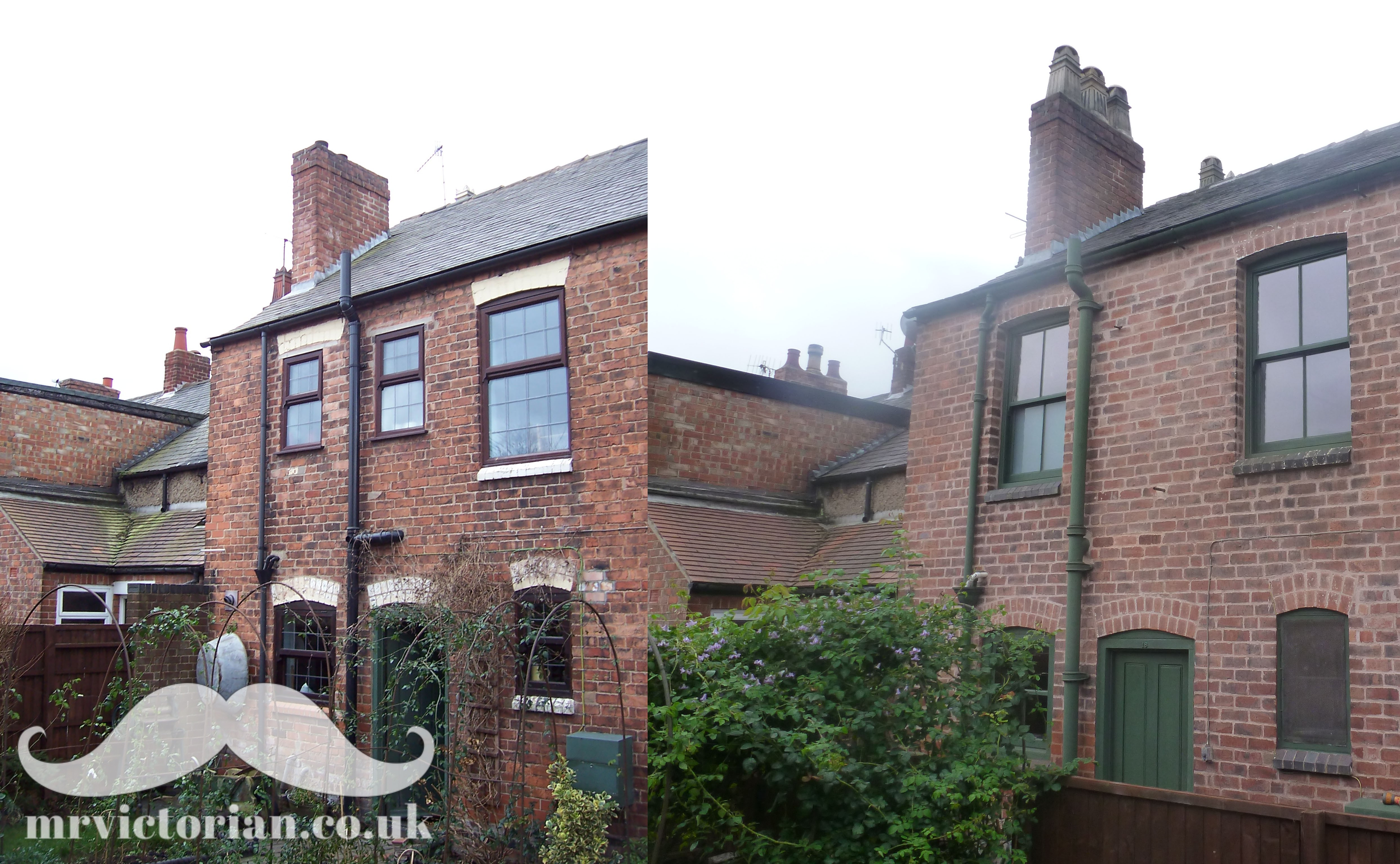 Victorian house before restoration sash window PVC plastic