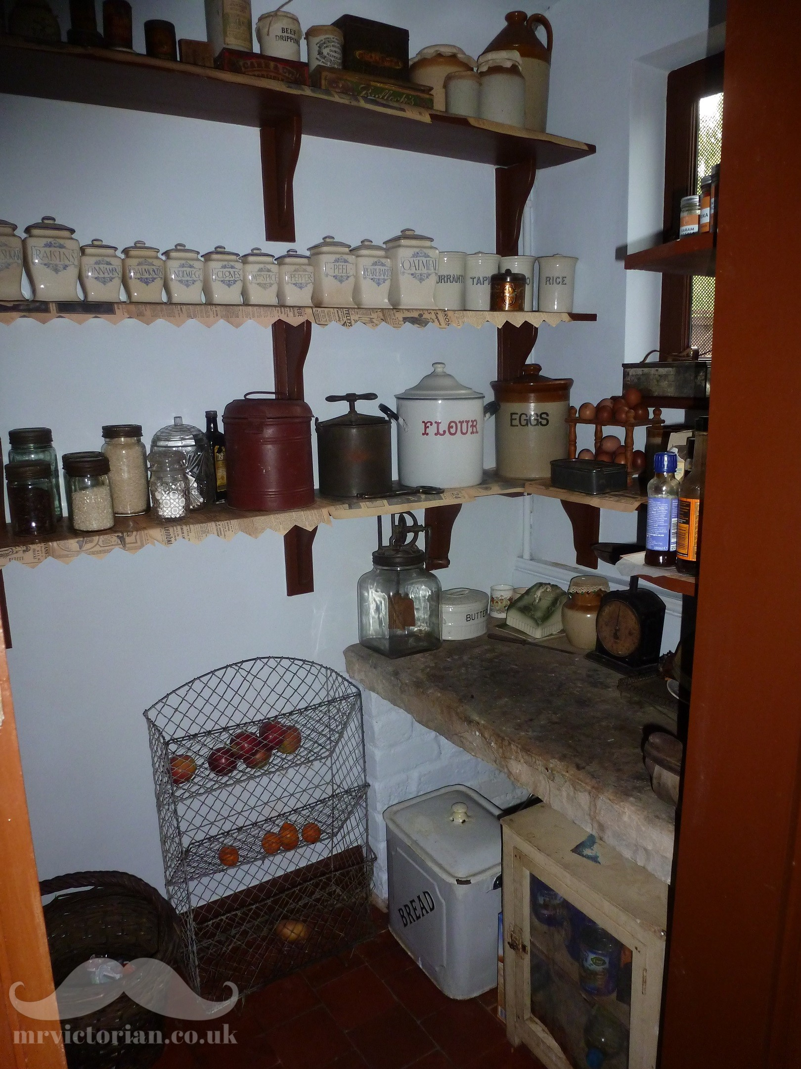 Victorian house pantry with 1920s foods and colour scheme. Visit www.mrvictorian.co.uk
