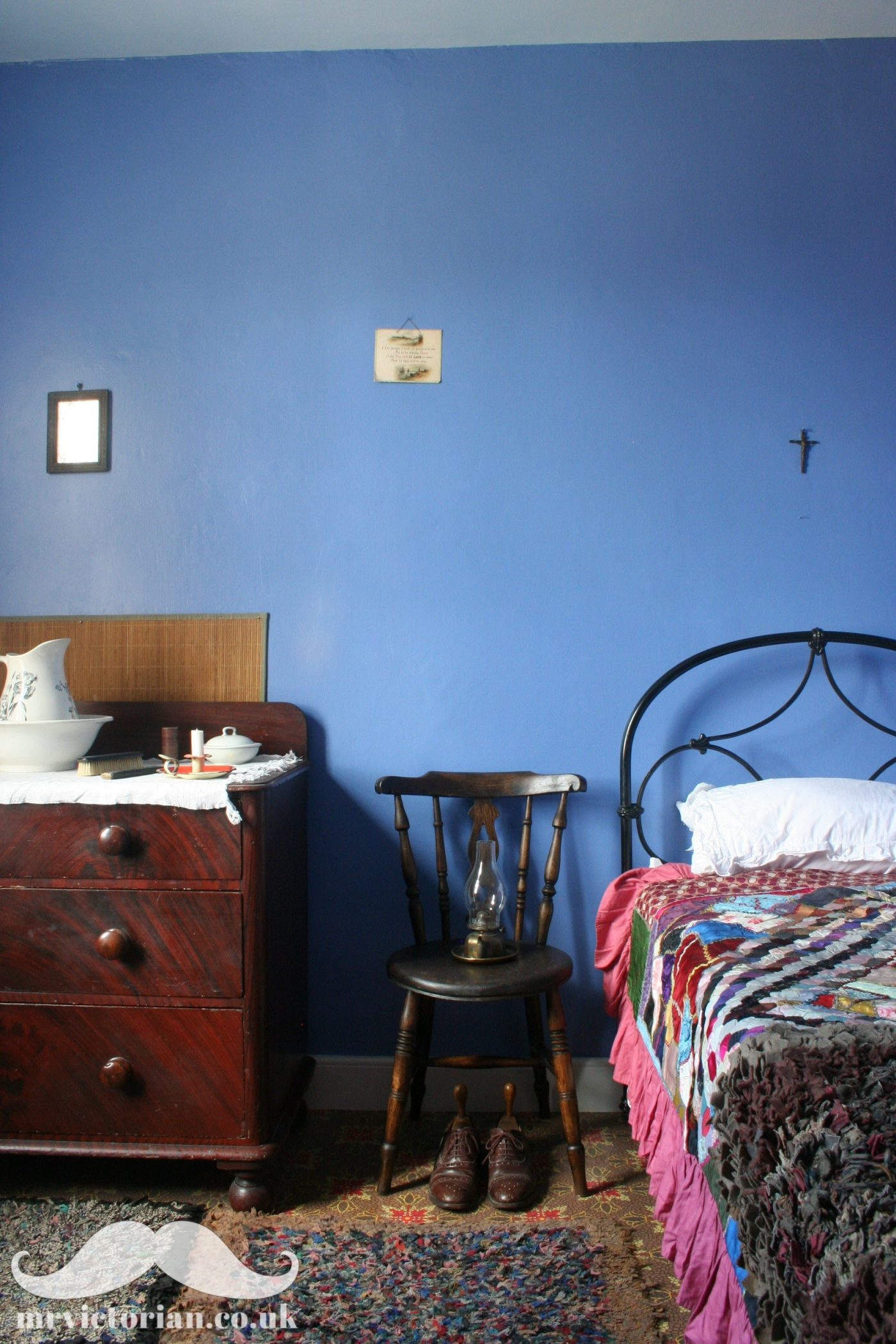 Victorian bedroom blue wall restoration historic paint analysis