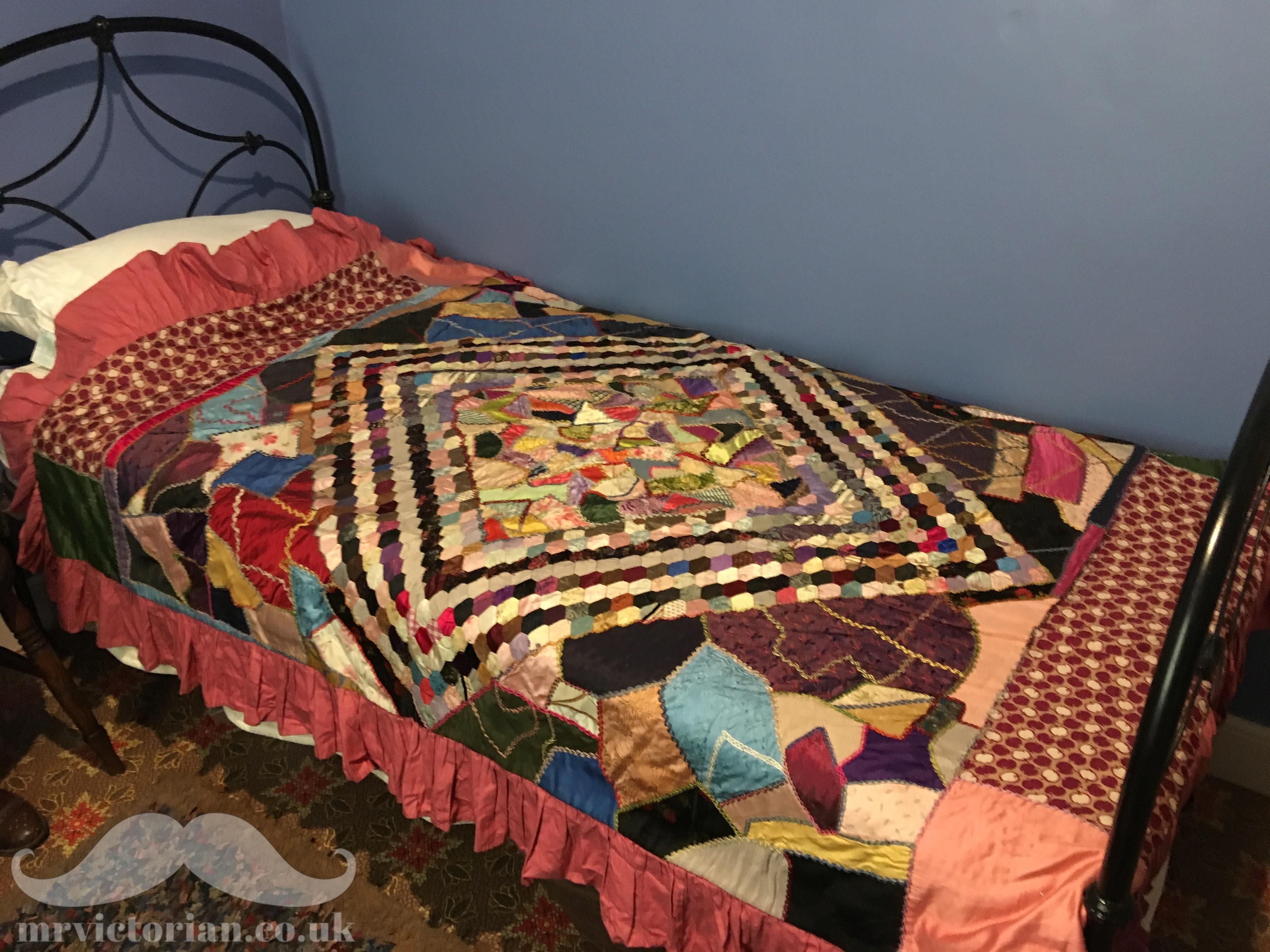 Victorian patchwork quilt bedroom antique
