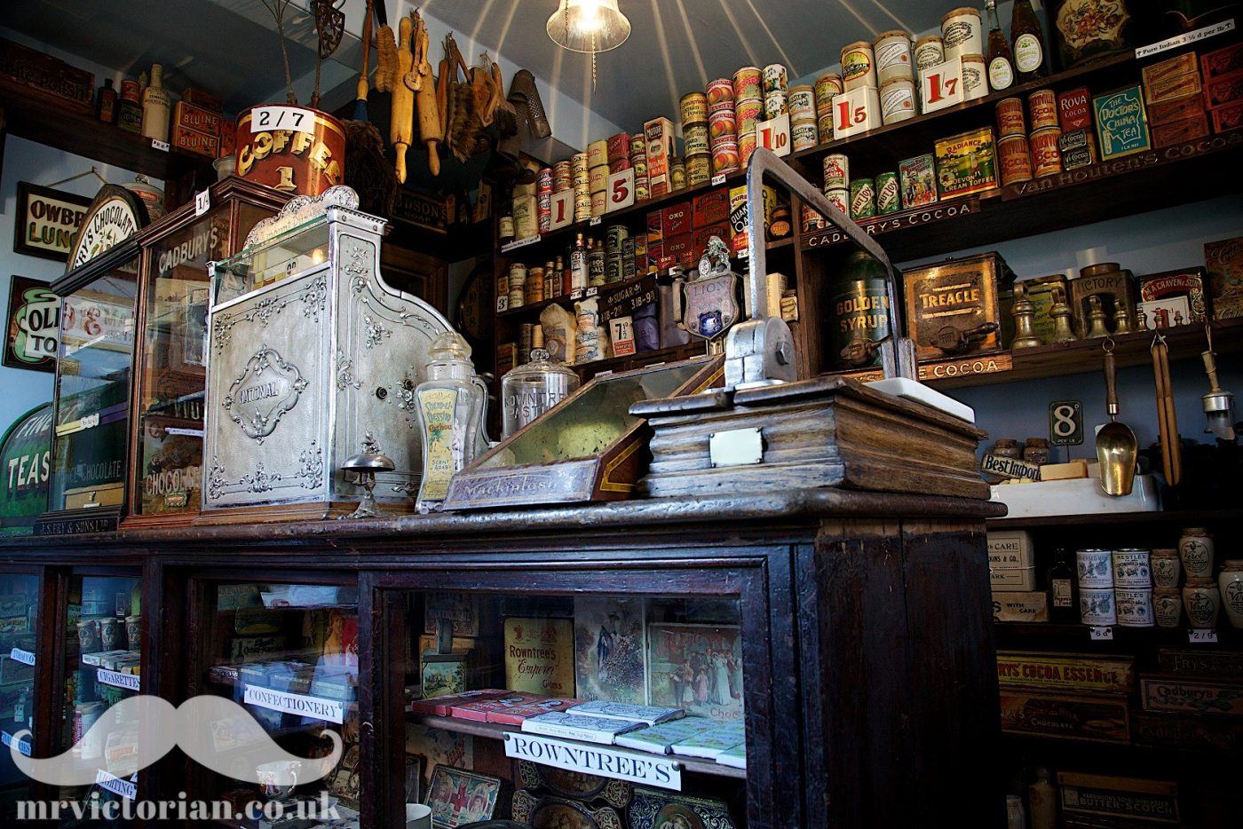 Edwardian 1900s grocery shop Mr Victorian chocolate cabinets