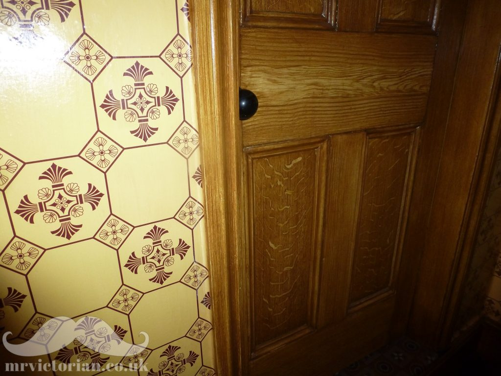Wood grained Victorian door tile wallpaper scumbled woodgraining