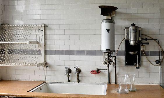 Vintage 1920s kitchen tiles wooden work top