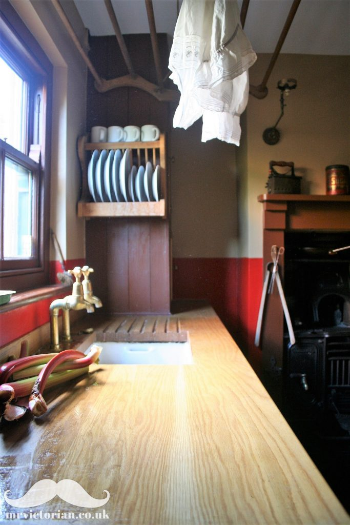 Victorian kitchen scullery oak worktop cast iron range gas light