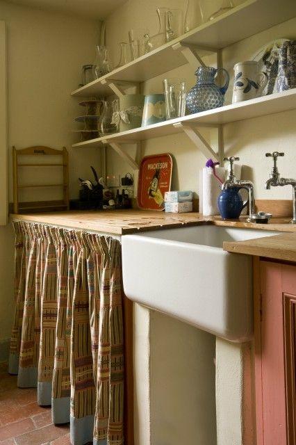 Victorian kitchen open shelves vintage butler sink