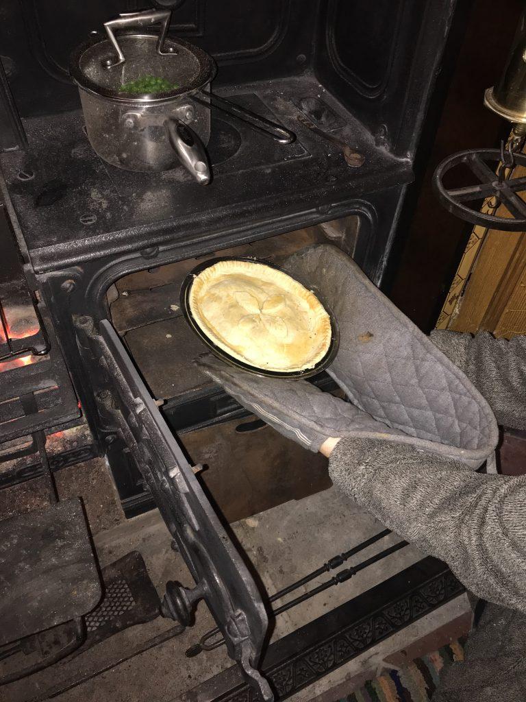 Victorian cast iron range cooked pie