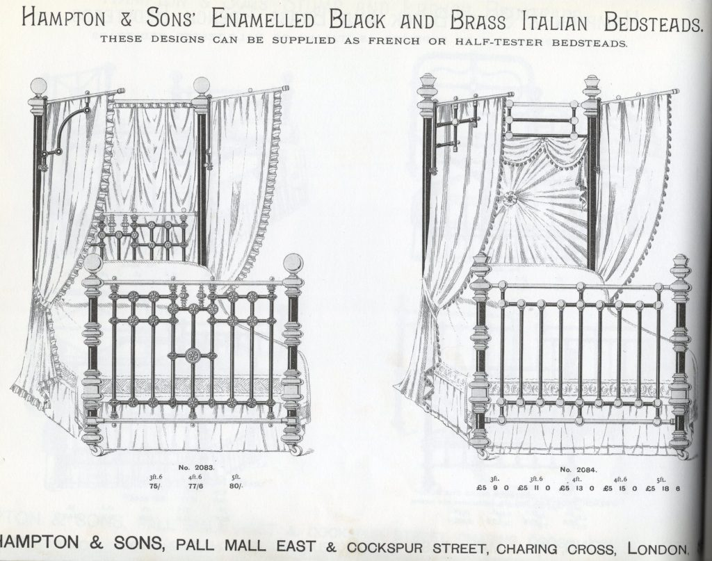'Italian' half tester Victorian brass and iron bed  in 1890s catalogue