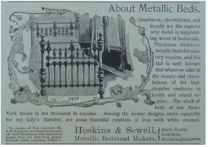 Victorian brass and iron beds - Hoskins and Sewell metaliic bed advertisement